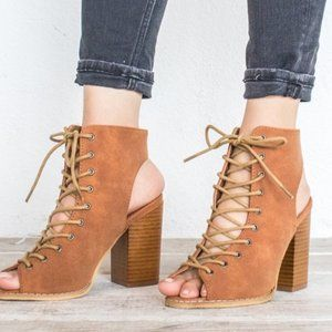 Mi.iM Corset Lace Up Stack Heel  Ankle Booties 8